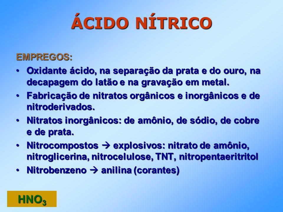 ÁCIDO NÍTRICO HNO3 EMPREGOS: