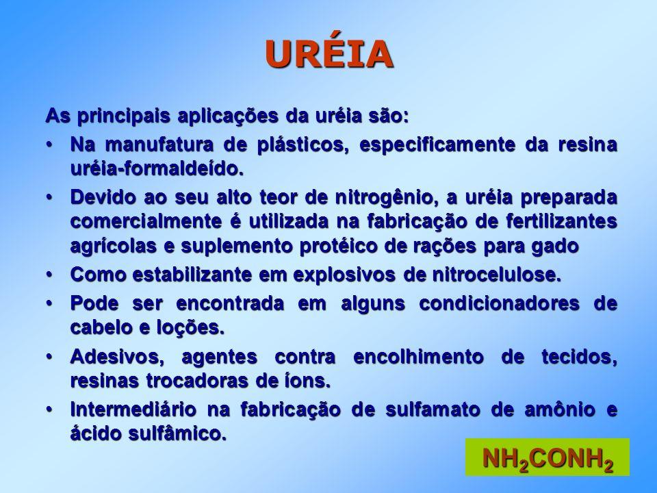 URÉIA NH2CONH2 As principais aplicações da uréia são: