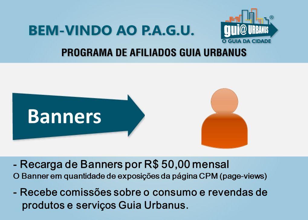 Banners - Recarga de Banners por R$ 50,00 mensal O Banner em quantidade de exposições da página CPM (page-views)