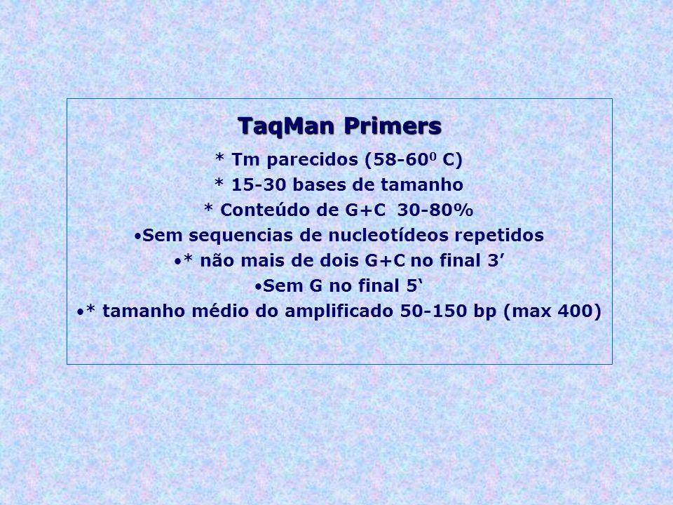 TaqMan Primers * Tm parecidos (58-600 C) * 15-30 bases de tamanho