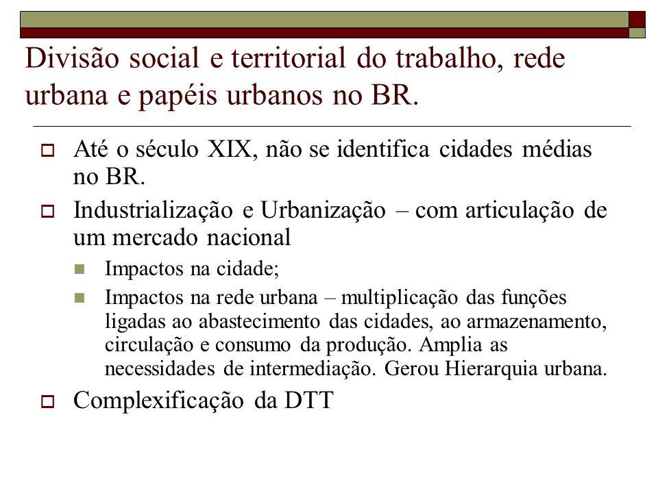 Divisão social e territorial do trabalho, rede urbana e papéis urbanos no BR.