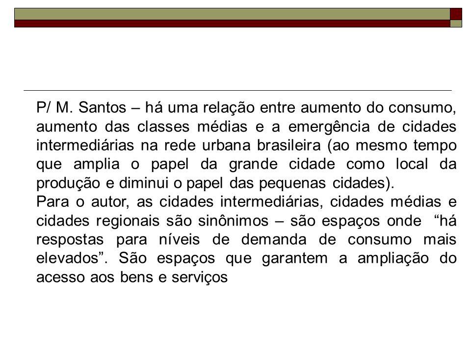 P/ M. Santos – há uma relação entre aumento do consumo, aumento das classes médias e a emergência de cidades intermediárias na rede urbana brasileira (ao mesmo tempo que amplia o papel da grande cidade como local da produção e diminui o papel das pequenas cidades).