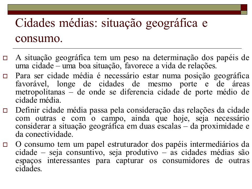 Cidades médias: situação geográfica e consumo.