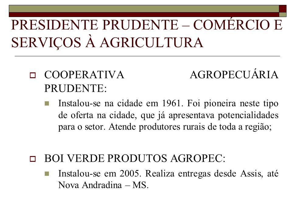 PRESIDENTE PRUDENTE – COMÉRCIO E SERVIÇOS À AGRICULTURA
