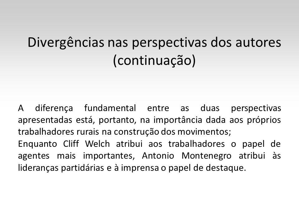 Divergências nas perspectivas dos autores (continuação)