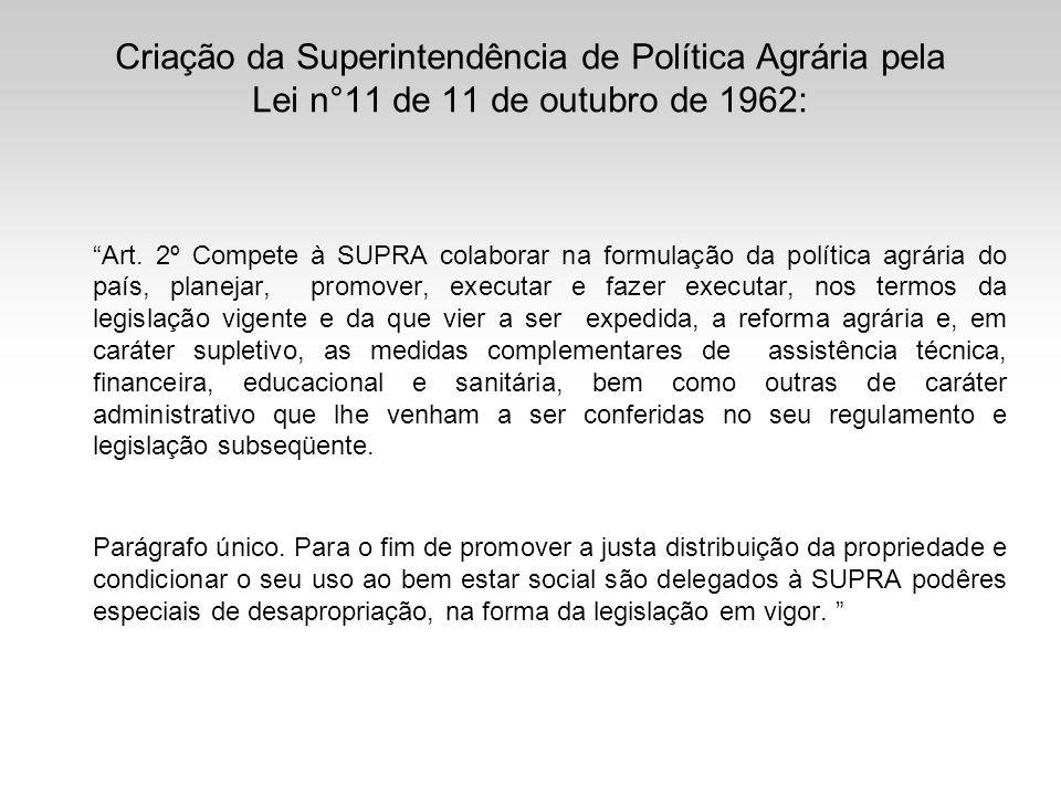 Criação da Superintendência de Política Agrária pela Lei n°11 de 11 de outubro de 1962: