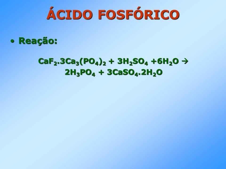 ÁCIDO FOSFÓRICO Reação: CaF2.3Ca3(PO4)2 + 3H2SO4 +6H2O 