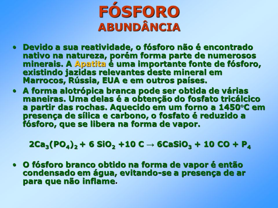 2Ca3(PO4)2 + 6 SiO2 +10 C → 6CaSiO3 + 10 CO + P4