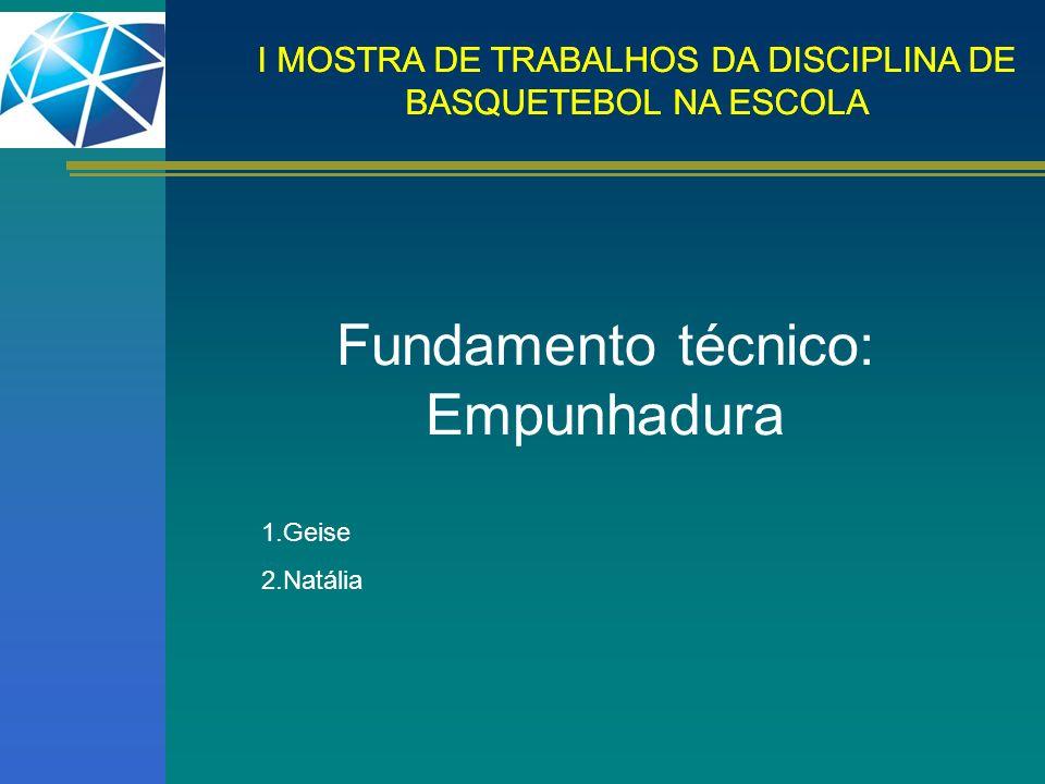 Fundamento técnico: Empunhadura 1.Geise 2.Natália