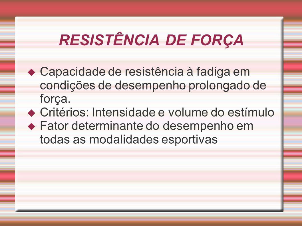 RESISTÊNCIA DE FORÇA Capacidade de resistência à fadiga em condições de desempenho prolongado de força.