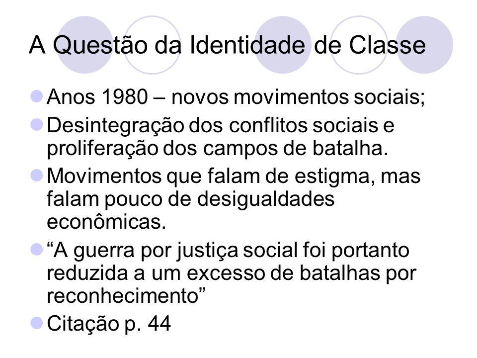 A Questão da Identidade de Classe