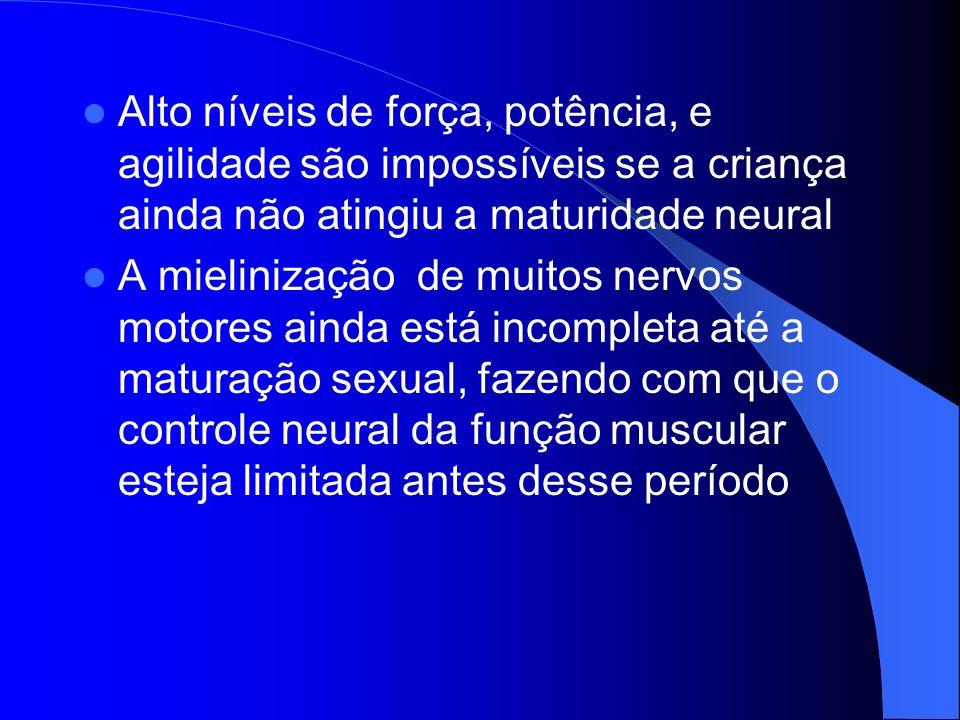 Alto níveis de força, potência, e agilidade são impossíveis se a criança ainda não atingiu a maturidade neural