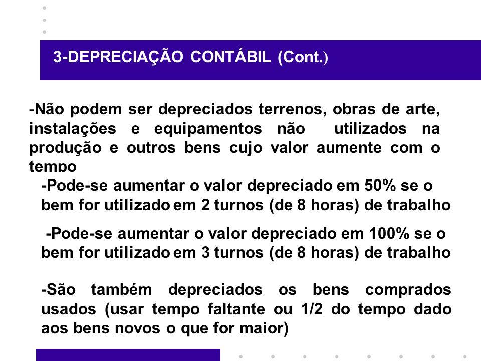 3-DEPRECIAÇÃO CONTÁBIL (Cont.)