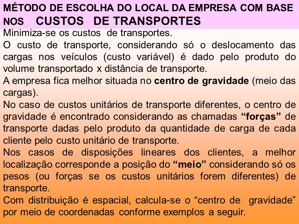 MÉTODO DE ESCOLHA DO LOCAL DA EMPRESA COM BASE NOS CUSTOS DE TRANSPORTES