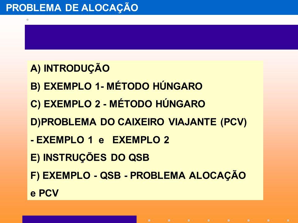 PROBLEMA DE ALOCAÇÃOA) INTRODUÇÃO. B) EXEMPLO 1- MÉTODO HÚNGARO. C) EXEMPLO 2 - MÉTODO HÚNGARO. D)PROBLEMA DO CAIXEIRO VIAJANTE (PCV)