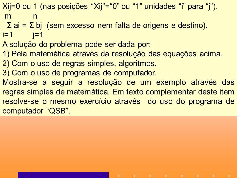 Xij=0 ou 1 (nas posições Xij = 0 ou 1 unidades i para j ).