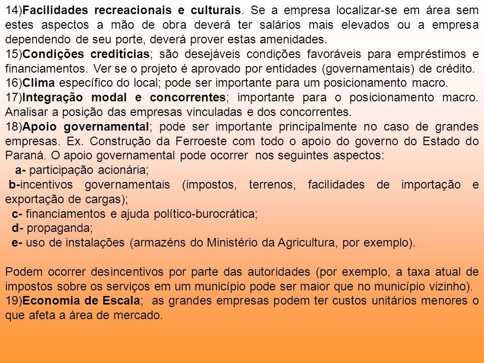 14)Facilidades recreacionais e culturais