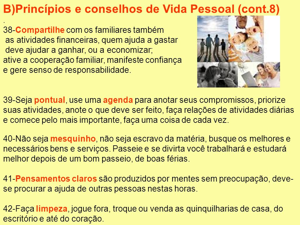 B)Princípios e conselhos de Vida Pessoal (cont.8)