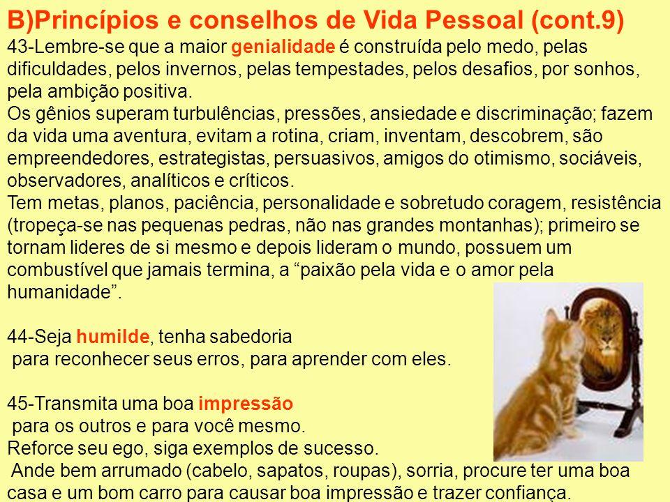 B)Princípios e conselhos de Vida Pessoal (cont.9)