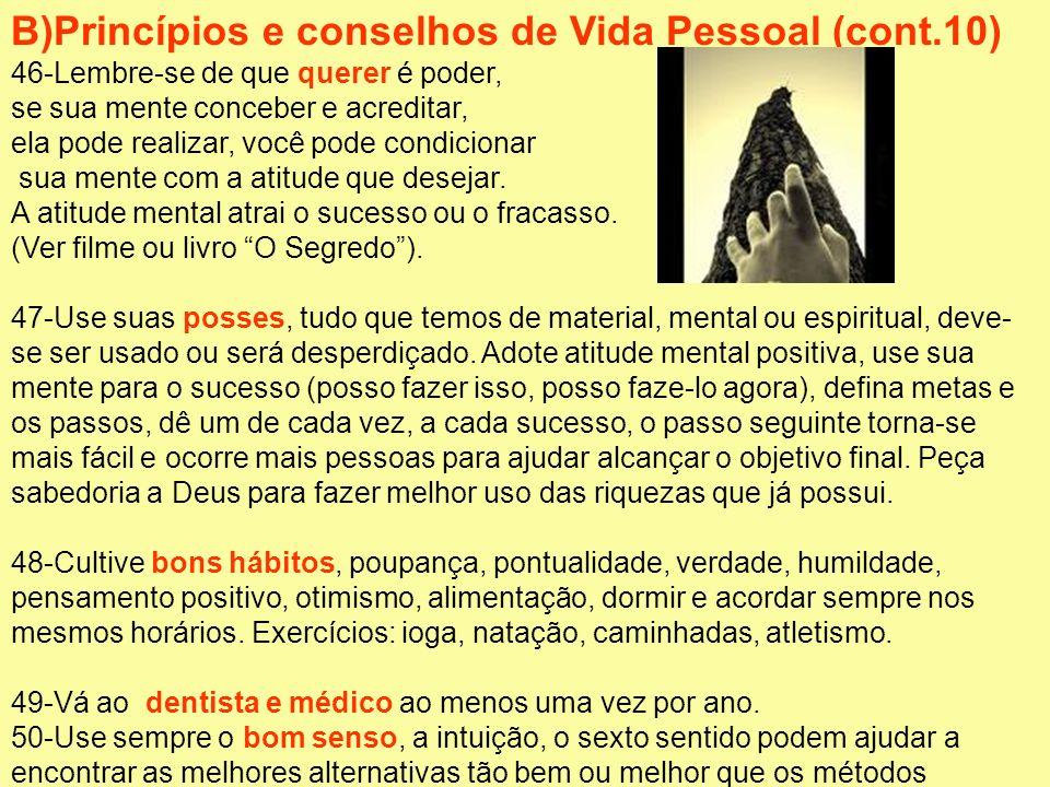 B)Princípios e conselhos de Vida Pessoal (cont.10)