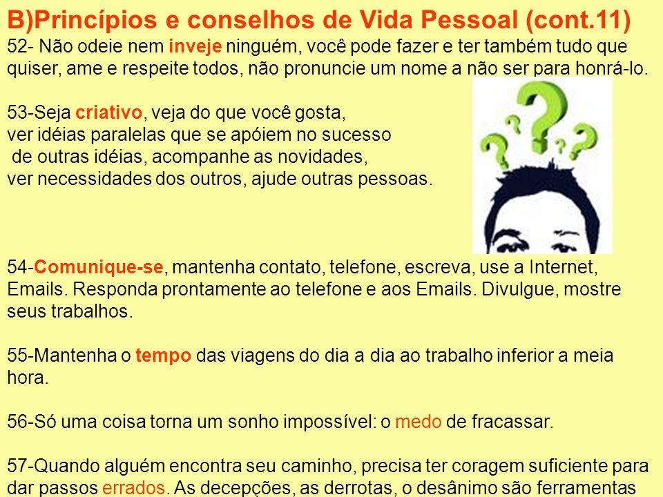 B)Princípios e conselhos de Vida Pessoal (cont.11)