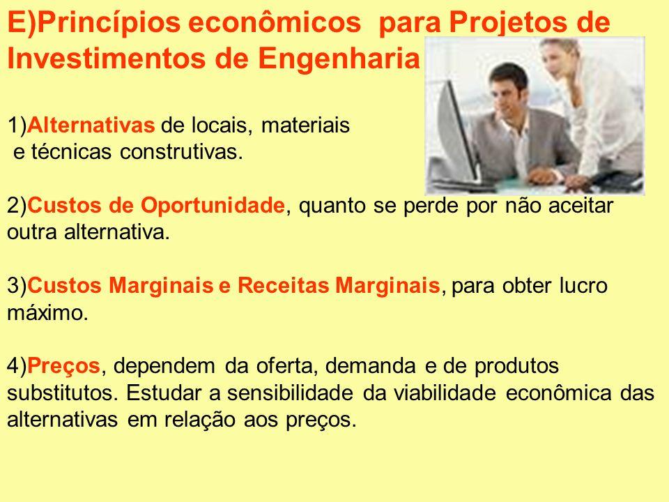 E)Princípios econômicos para Projetos de Investimentos de Engenharia