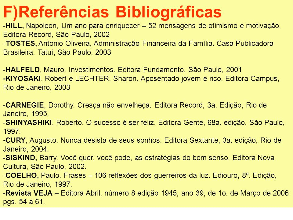 F)Referências Bibliográficas