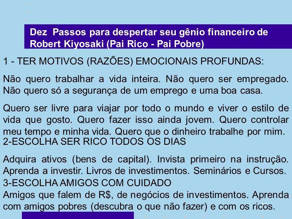 Dez Passos para despertar seu gênio financeiro de Robert Kiyosaki (Pai Rico - Pai Pobre)