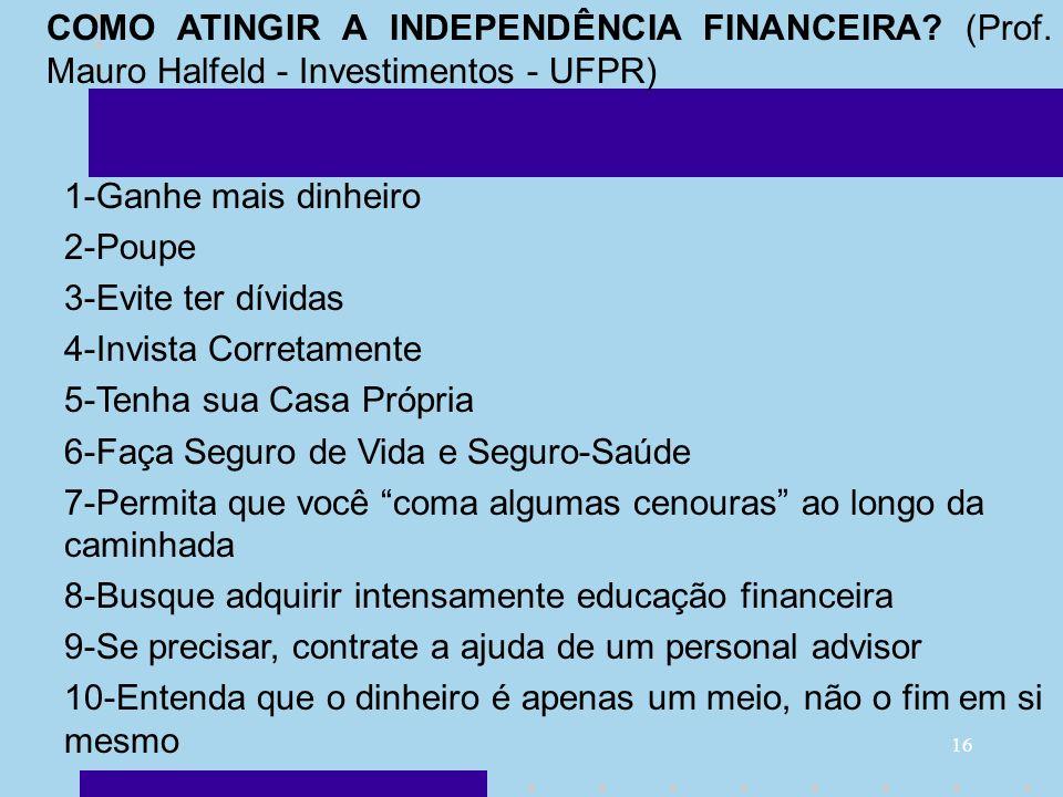 COMO ATINGIR A INDEPENDÊNCIA FINANCEIRA. (Prof