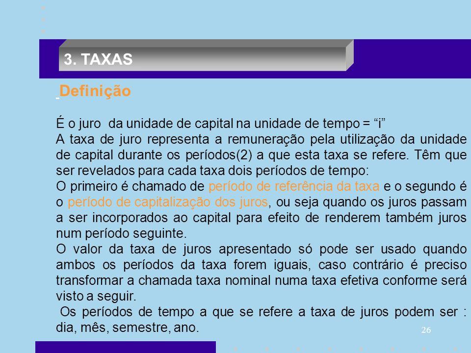 3. TAXAS Definição. É o juro da unidade de capital na unidade de tempo = i