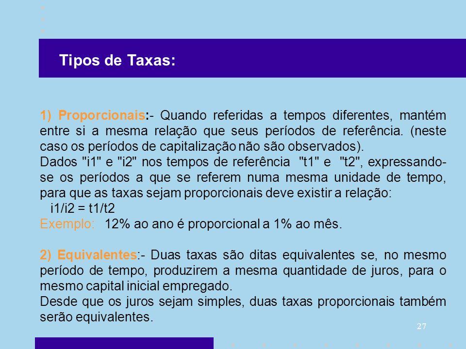 Tipos de Taxas: