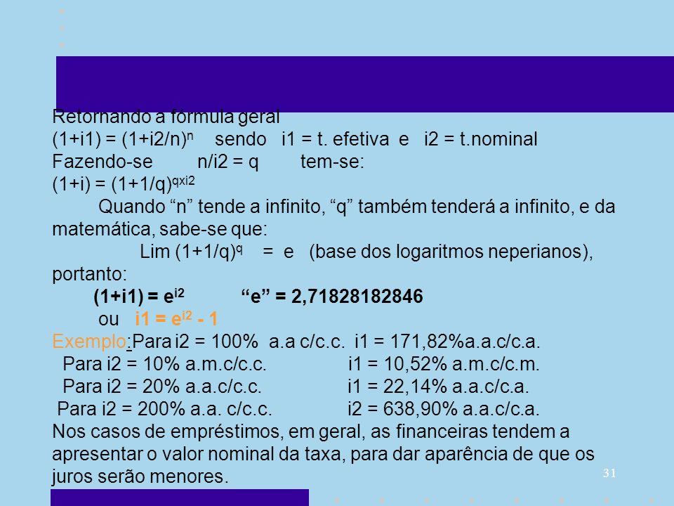 Retornando a fórmula geral