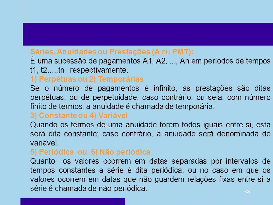 Séries, Anuidades ou Prestações (A ou PMT):