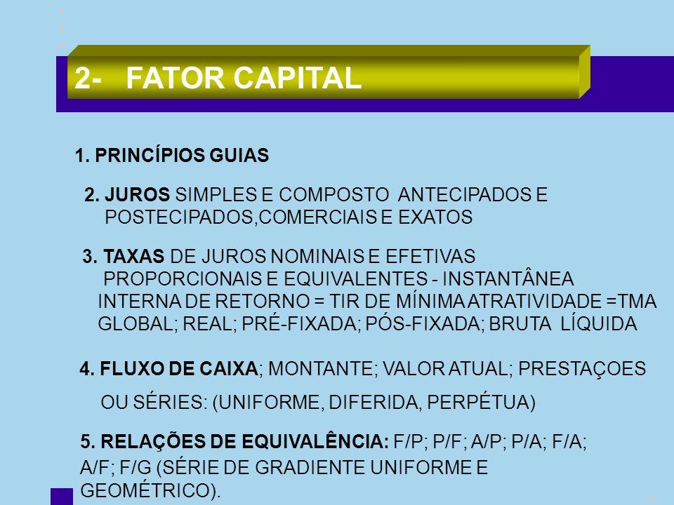 2- FATOR CAPITAL 1. PRINCÍPIOS GUIAS