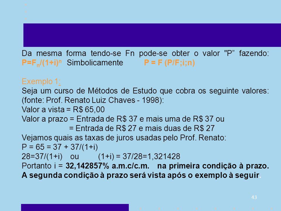 Da mesma forma tendo-se Fn pode-se obter o valor P fazendo: P=Fn/(1+i)n Simbolicamente P = F (P/F;i;n)