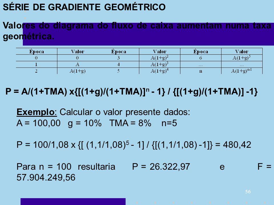 SÉRIE DE GRADIENTE GEOMÉTRICO