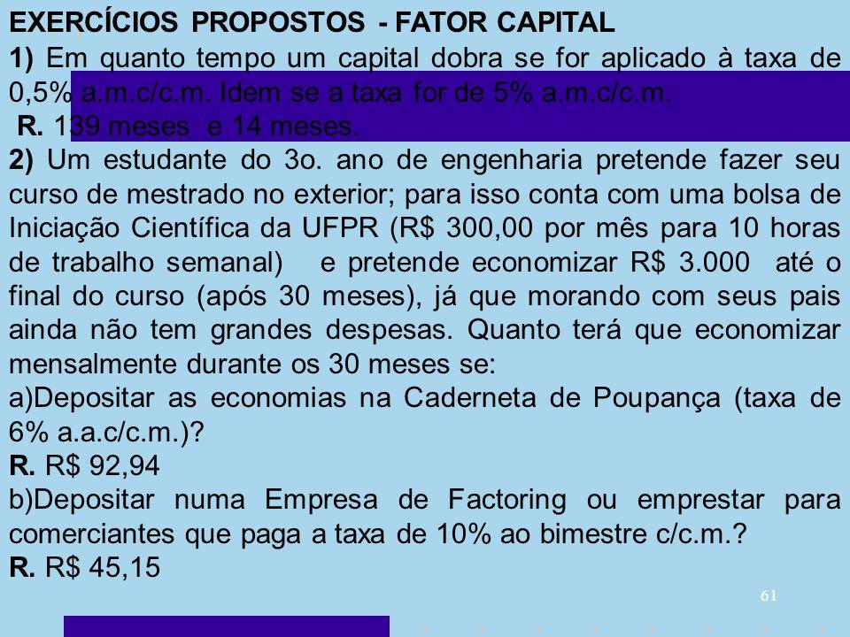 EXERCÍCIOS PROPOSTOS - FATOR CAPITAL