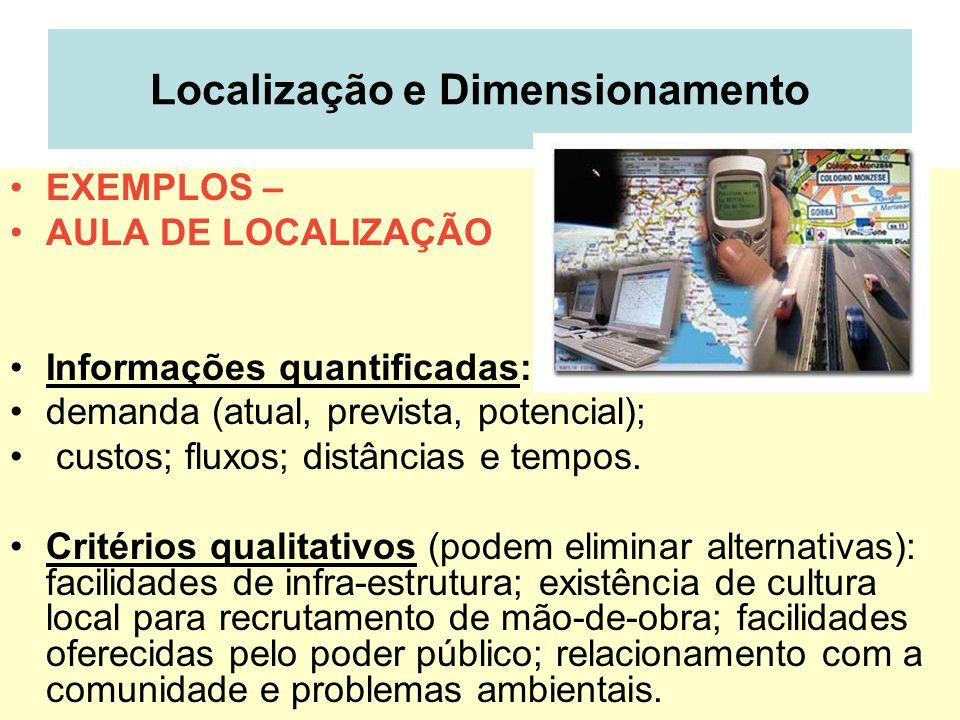 Localização e Dimensionamento