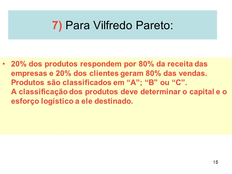 7) Para Vilfredo Pareto: