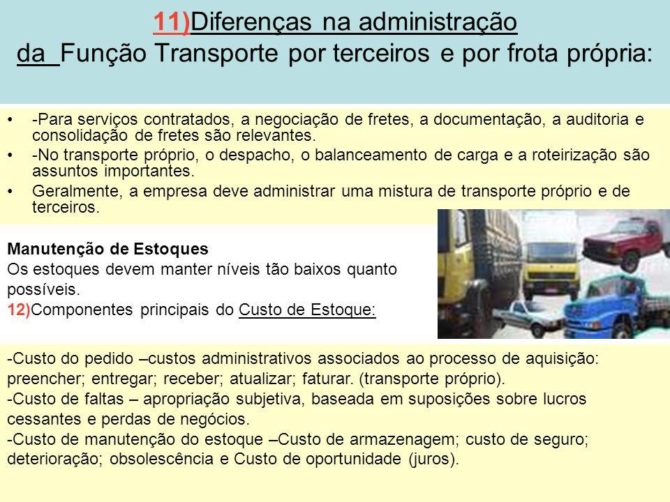 11)Diferenças na administração da Função Transporte por terceiros e por frota própria: