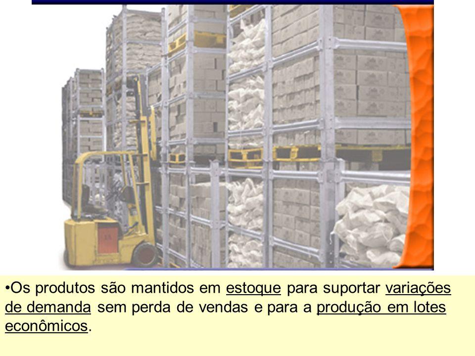 Os produtos são mantidos em estoque para suportar variações de demanda sem perda de vendas e para a produção em lotes econômicos.