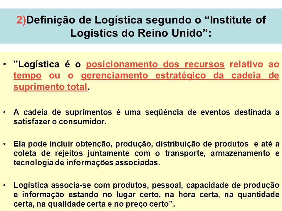2)Definição de Logística segundo o Institute of Logistics do Reino Unido :