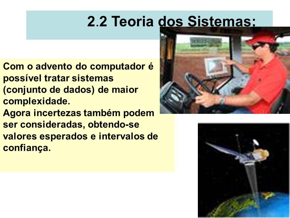 2.2 Teoria dos Sistemas: Com o advento do computador é possível tratar sistemas. (conjunto de dados) de maior complexidade.