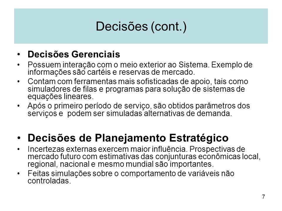 Decisões (cont.) Decisões de Planejamento Estratégico
