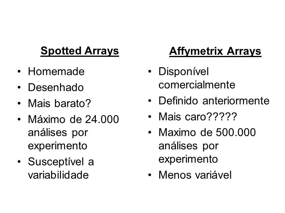 Spotted Arrays Affymetrix Arrays. Homemade. Desenhado. Mais barato Máximo de 24.000 análises por experimento.