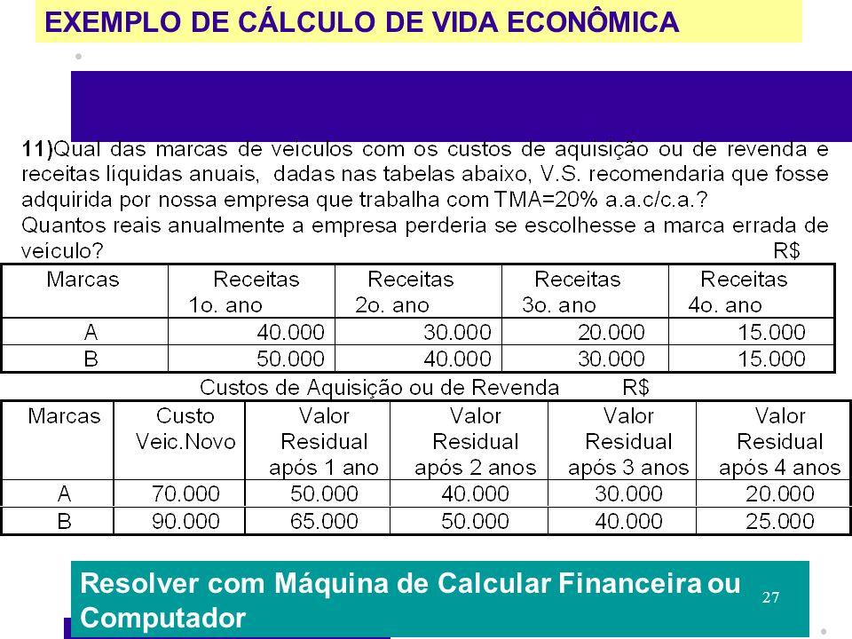 EXEMPLO DE CÁLCULO DE VIDA ECONÔMICA