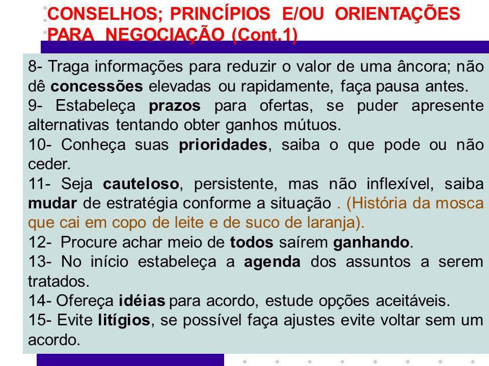 CONSELHOS; PRINCÍPIOS E/OU ORIENTAÇÕES PARA NEGOCIAÇÃO (Cont.1)