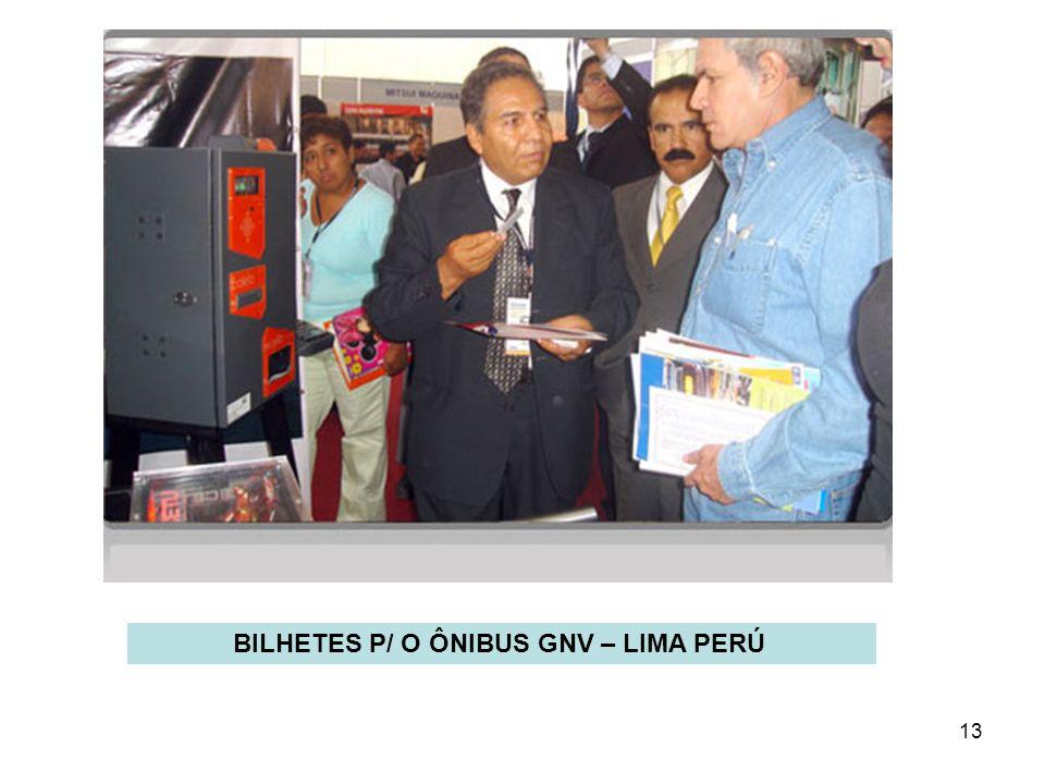 BILHETES P/ O ÔNIBUS GNV – LIMA PERÚ