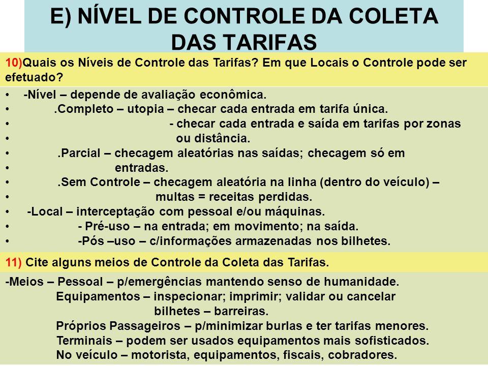 E) NÍVEL DE CONTROLE DA COLETA DAS TARIFAS