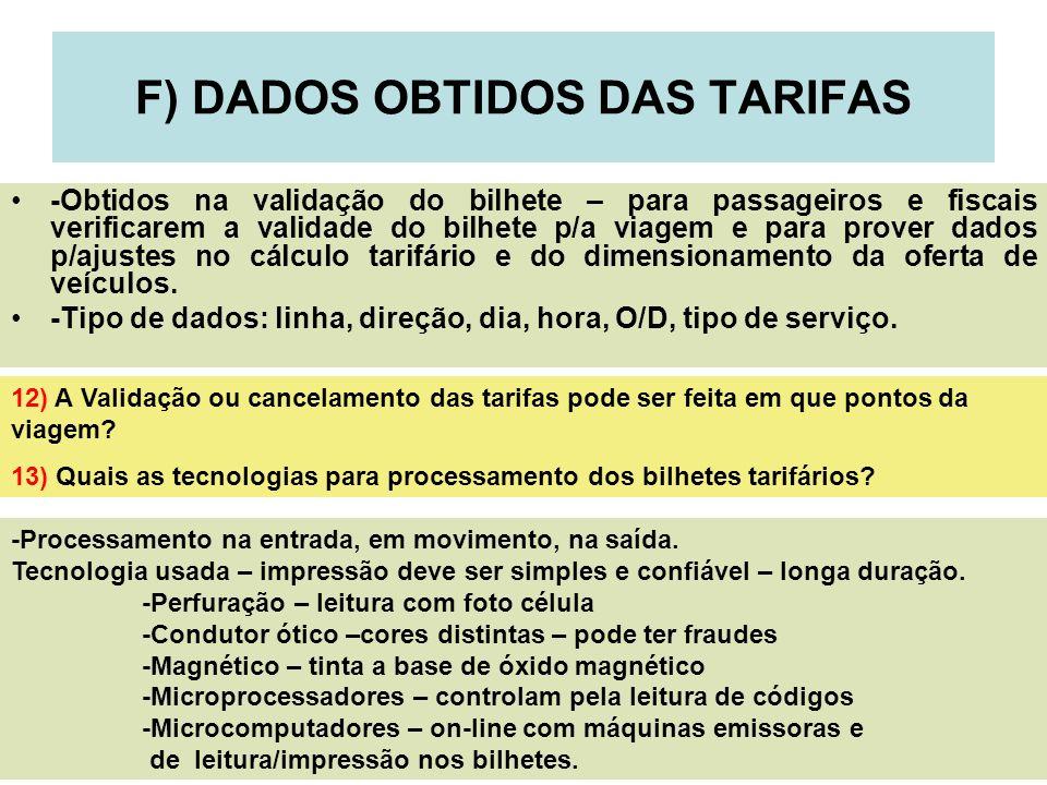 F) DADOS OBTIDOS DAS TARIFAS